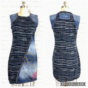 Desigual Striped Embroidered Sheath Denim Dress